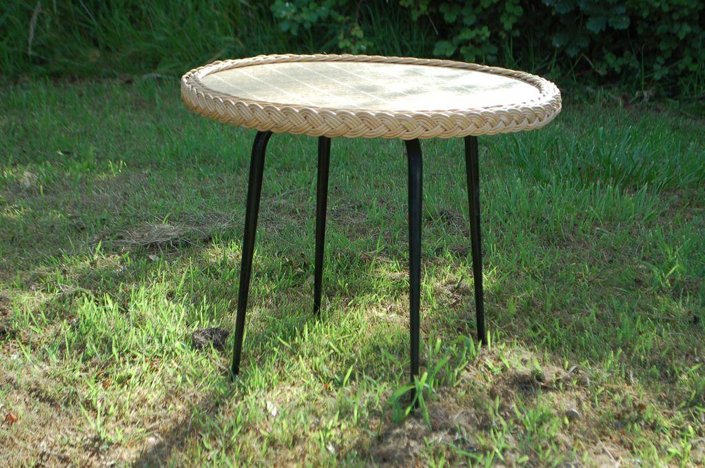 Table basse en osier Design vintage années 50 60 70
