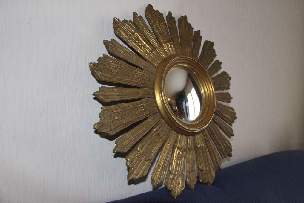 Miroir soleil ancien en bois œil de sorcière bombé grande taille